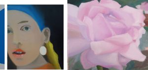 Peinture photographiée – La jeune fille à l'intrigant et la rose – 2018